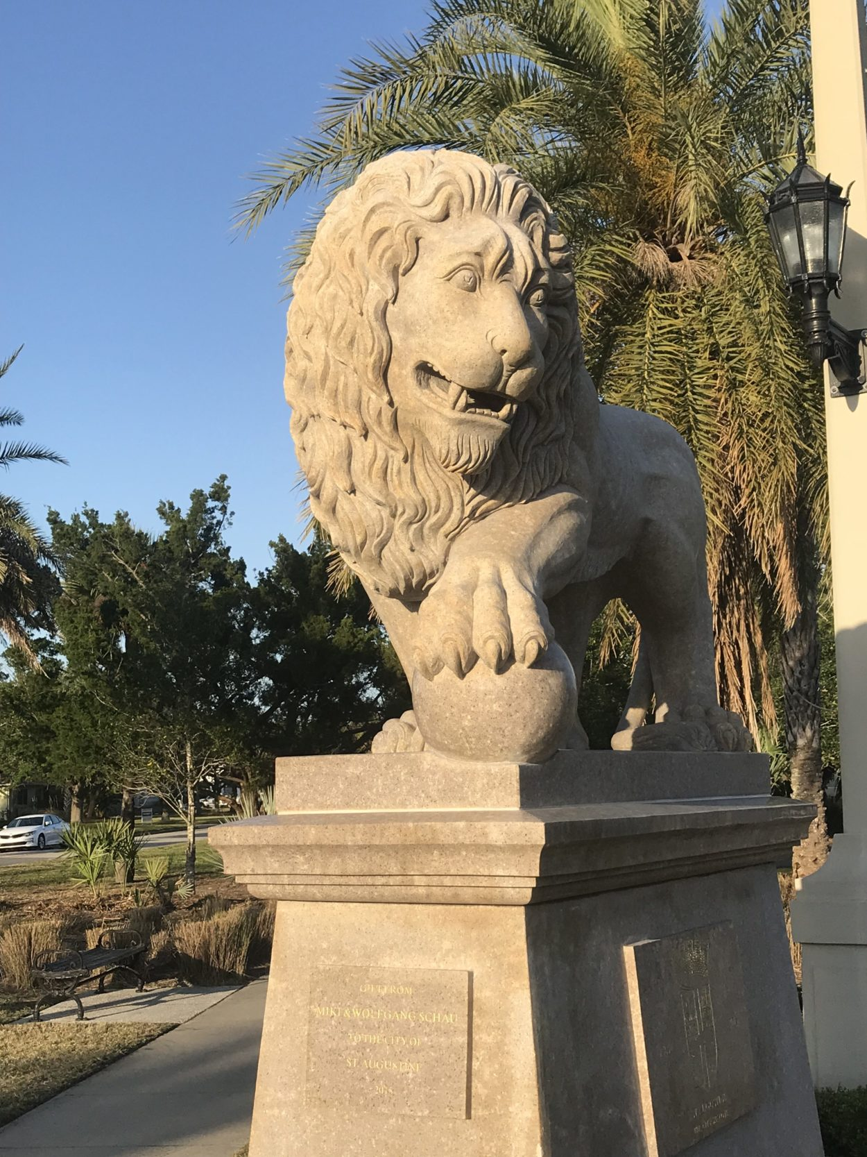 Lion landmark at Bridge of Lions St. Augustine, Florida