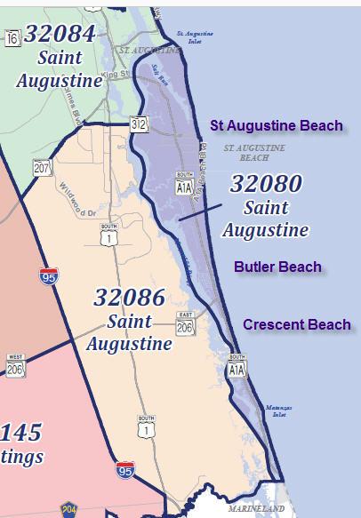 St Augustine Zip codes